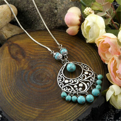 Women Fashion Turquoise Beads Dangle Silver Carved Water Drop  Pendant Necklaces