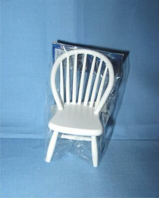 Dollhouse Miniature x2 Windsor Spindle Back Kitchen Chairs Pine /& White 1:12