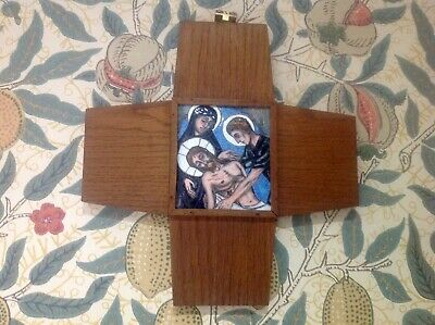 Antique Enamelled Arts & Crafts Style Stations Of The Cross Cross Wall Plaque,14