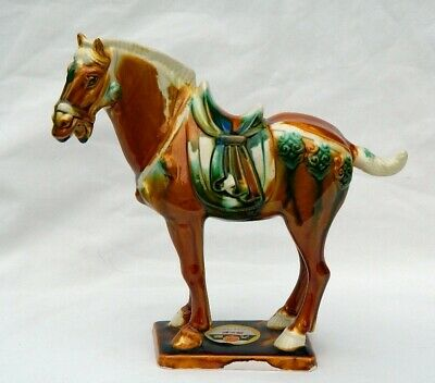 Chinese Tang Sancai Drip Glaze Pottery Horse Majolical Label Vintage Figurine