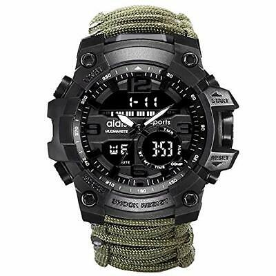 Sports Watches 6-in-1 Top Brand Men Dual Display Analog Digital LED (Green)