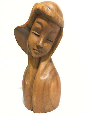 Hand Carved VTG Wooden Beautiful Woman With Long Hair