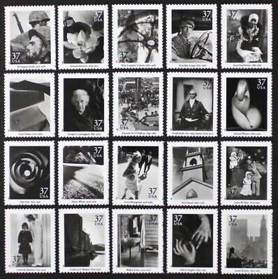 US 2002 #3649 Masters American Photography cpl set, 20 stamps in Singles Mint NH