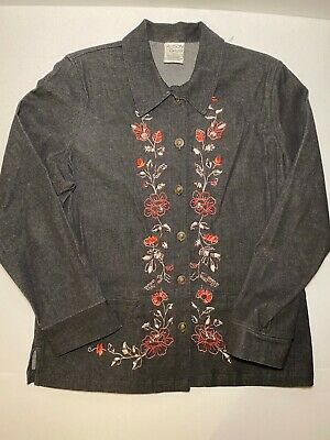Allison Daley Black with Embroidered Floral Button-up Jean Jacket Size 14