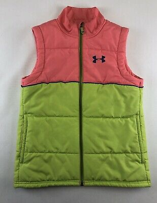 UNDER ARMOUR COLD GEAR PUFFER VEST Coral Pink & Neon Green Girls Size SMALL