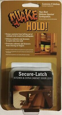 Quake HOLD Secure-Latch Model # 4250 /  4 Furniture Fasteners, Child Safety, New