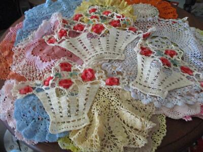 VINTAGE Bulk lot of X 38 Assorted Coloured Crocheted Doilies