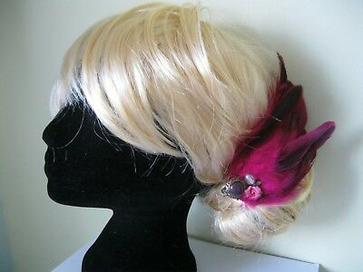 pink FEATHER FASCINATOr floral WEDDING HAIR CLIP VINTAGE 50S QUIRKY valentines