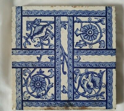 Lovely Coalville Arts & Crafts Blue & White Antique 6 Inch Tile