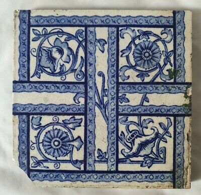 Shabby Chic Coalville Arts & Crafts Blue & White Antique 6 Inch Tile