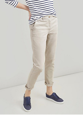 Ivory Beige Joules Hesford Chinos Stretch Cotton Slim Fit Trousers - 12 & BNWT