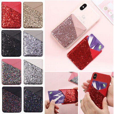 Holder Wallet Pouch Bus Card Purse Leather Back Cover Phone Card Case Bling