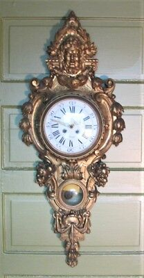 """Superb Mid-19th C. 48"""" FRENCH CARVED GILT WOOD Figural Clock  c. 1860  antique"""