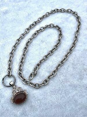 "Antique 22"" White Metal Watch Chain With Silver Spinning 2 Stone Fob"