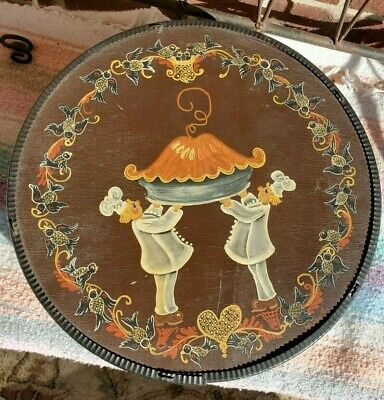 Vintage Hand painted cheese box, round, pies, chef, folk art, primitive tole