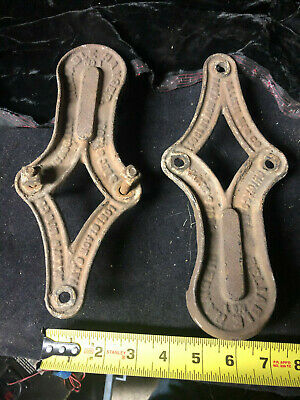 Pair Antique Cast Iron Allith Mfg Co Chicago Fire Door Hangers PAT NOV 1901