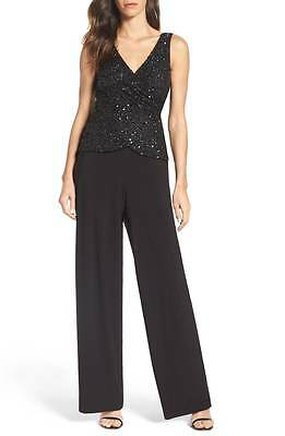 ADRIANNA PAPELL Black Sequin Embellished Jersey Stretch Pants Jumpsuit Gown 14