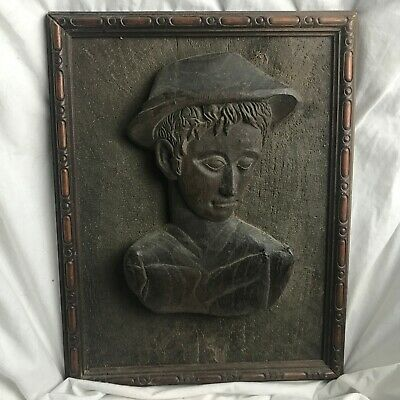 Antique Indian African Eastern Carved Wall Plaque Bust Head Carved Wood Wooden