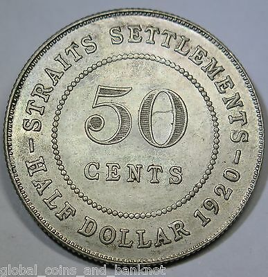 Straits Settlements - 1920 50 Cent - Silver Coin