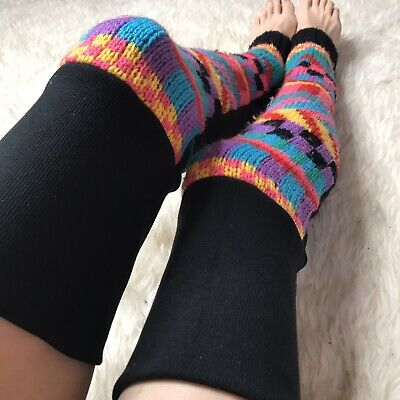 Pink 80s Sweater Leg Warmers Black Thigh Highs Neon Knee Socks Yellow Rave Warm