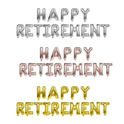 Rose Gold Silver Happy Retirement Foil Balloons Banner Decoration Party Real Jxy