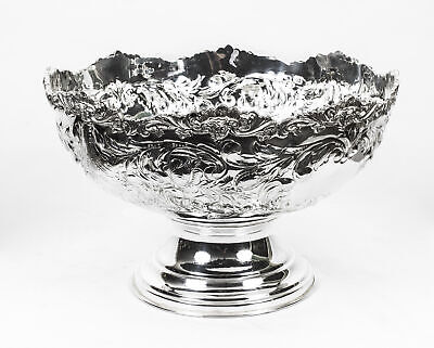Gorgeous Large Silver Plated Punch Bowl Cooler  Floral Decoration