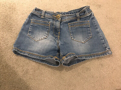 Girls Denim Hotpant Shorts With Beige Ribbed Tights Age 7 Years From Next