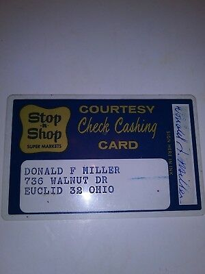 Vintage Grocery Store Stop & Shop Courtesy Check Cashing Card