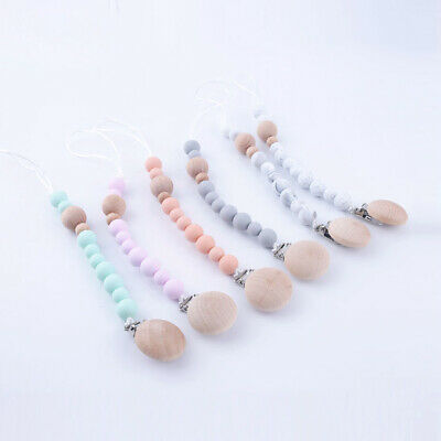Round Silicone Wood Beads Baby Teething Pacifier Chain Clip Dummy Soother Holder