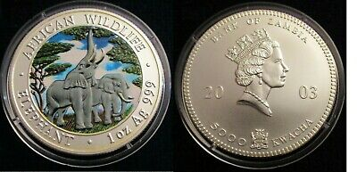 2003 Zambia Large Color Silver Matte 5000 Kwacha-Elephant- African wildlife