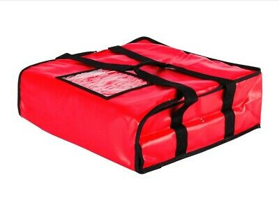 """18"""" x 18"""" x 5"""" Red Heavy-Duty End Load Vinyl Insulated Pizza Delivery Bag"""