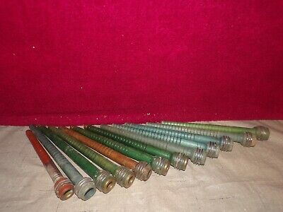 "Vtg Lot of 10 Industrial Wood Textile 8.25/"" Red Ribbed Spindles Bobbins Spools"