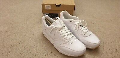 Nike Air Max 1 White Leather Trainers Uk 10 Genuine Bnib