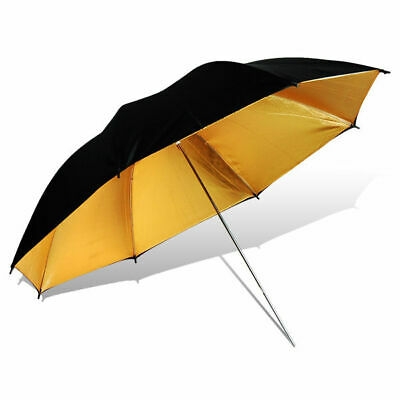 "1PACK Photo Studio 40"" Reflector Umbrella Black Gold Video Flash Reflective"