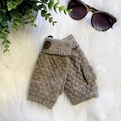 Cable Knit Gloves Soft Plush Lining Fingerless, Taupe