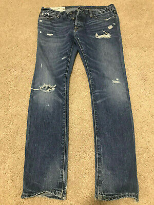 ABERCROMBIE & FITCH Baxter Low Rise Slim Boot Button Fly Jeans Size 30Wx32L Mens
