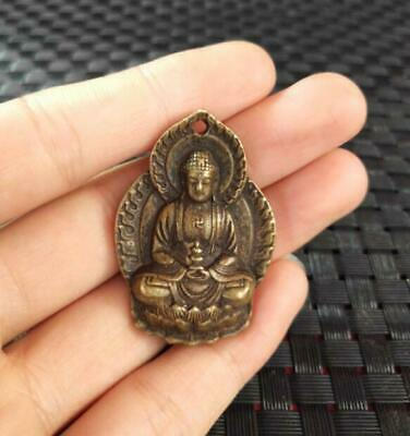 old brass Handcarved Sakyamuni Buddha Small pendant