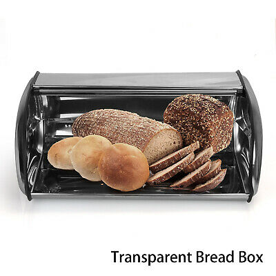 NEW Bread Bin Stainless Steel Roll Top Kitchen Container Storage Loaf Curved Box