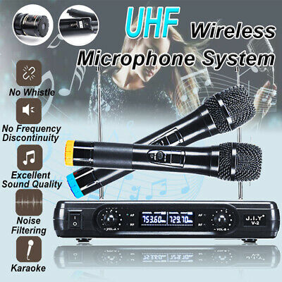 220V Wireless Microphone System UHF 2 Channel Handheld Dynamic 2 Mics Karaoke