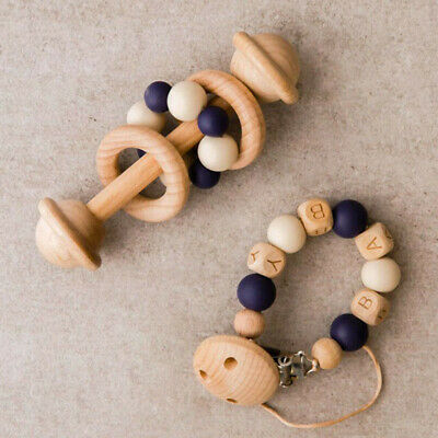 Baby Teething Rattle Beech Wood Silicone Beads Pacifier Clip Holder Nipple Chain