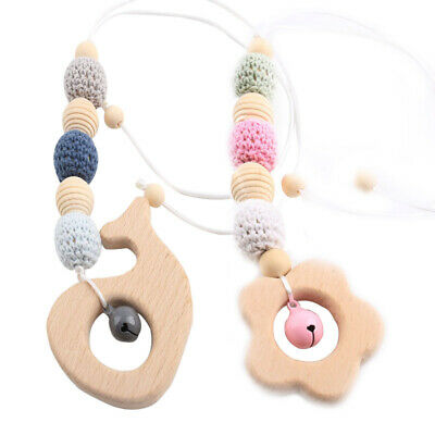 Flower Whale Beech Pendant Necklace Wood Crochet Beads Baby Teething Toy Rattle