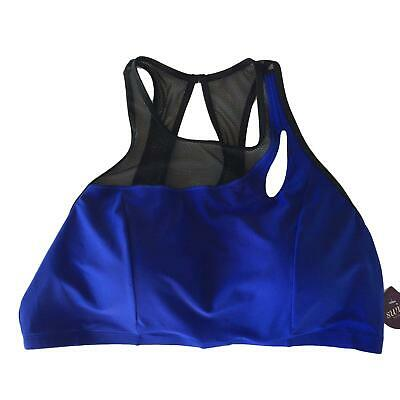 Cacique Swim Bikini Top Womens Size 26 Royal Blue Black Mesh No Wire Padded