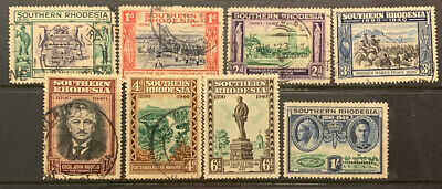 Southern Rhodesia 1940 Golden Jubilee Of Brit And Sa Company Used Set Of 8