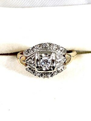 Victorian 14K Solid White Yellow Gold .23 Ctw Diamond Engagement Ring Sizable