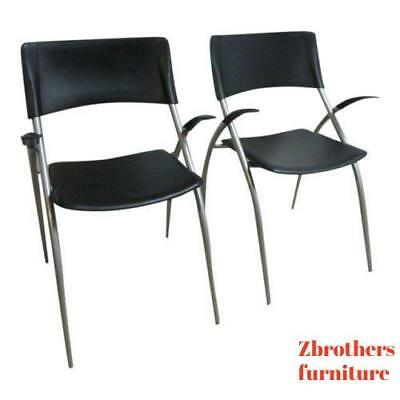 Pair Calligaris Leather Atomic Floating Arm Chairs  C