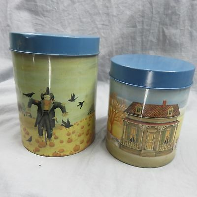 Lowell Herrero Art Work On These Two Tin Canisters Nesting Set 1983 Scarecrow