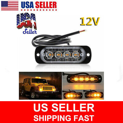2X Amber Car Strobe Light 4 LED Emergency Indicator Flashing Lamp Truck Warning