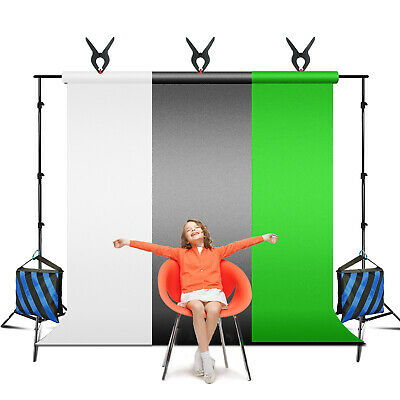2PC Cross Bar Black/White/Green Background Support System kit for Photography