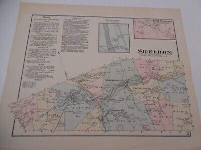 VINTAGE  Hand-Colored F W Beers Map From Atlas - SHELDON , Vermont
