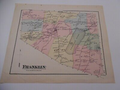VINTAGE  Hand-Colored F W Beers Map From Atlas - FRANKLIN , Vermont